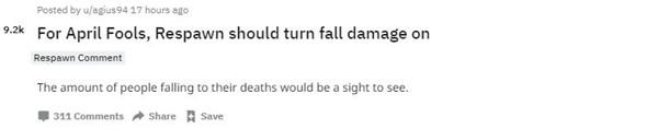 重生工作室回应在《Apex英雄》加入坠落伤害:好点子